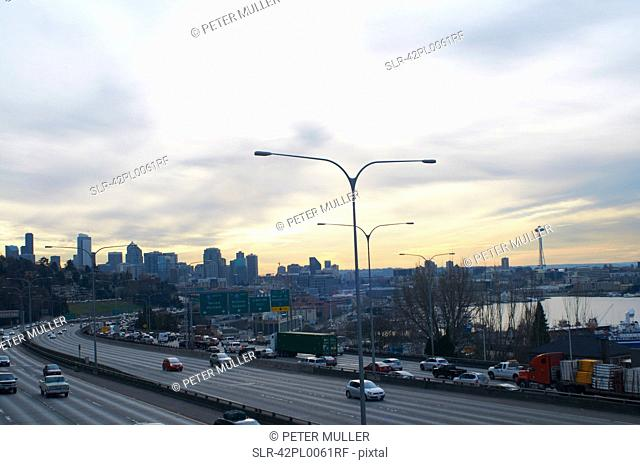 Aerial view of highway through Seattle