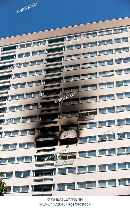 Scene of fire on 12th floor flat in Grafton House, Wellington Street, Bow, East London. Featuring: Atmosphere, View Where: London, England