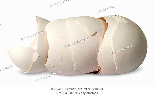 Stack of halves from crashed eggs horizontally isolated on white background
