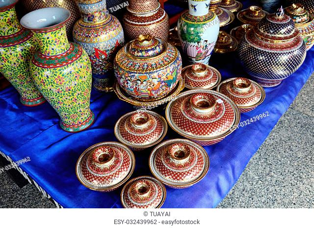 Craft Benjarong is traditional thai five basic colors style pottery for show and sell for traveller at Ban Don Kai Dee (Benjarong Village) on August 8