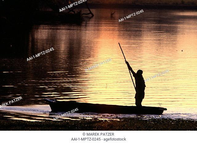 Fishermen at sunset, Luangwa Valley, Zambia