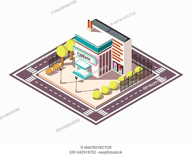 Cinema building isometric composition with road bench and trees vector illustration