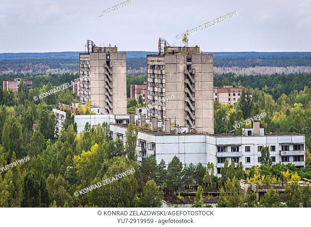 View from the roof of 16-stored block of flats in Pripyat ghost city of Chernobyl Nuclear Power Plant Zone of Alienation in Ukraine