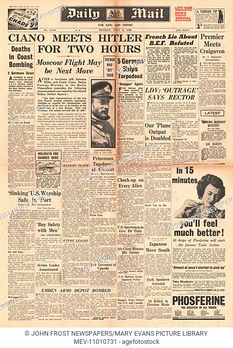 1940 front page Daily Mail Count Ciano meets Hitler for Diplomatic Talks. 8th July 1940 issue