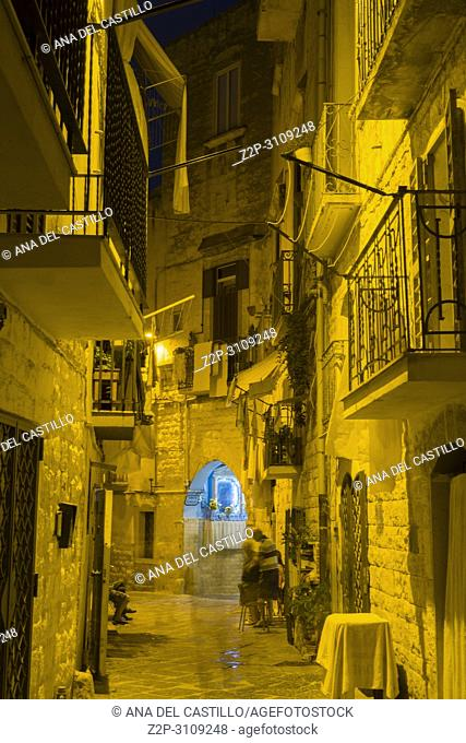Old town of Bari by night.in Puglia, Italy