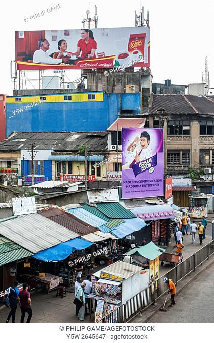 Street scene in the Pettah district, facing Fort Station, Colombo, Sri Lanka