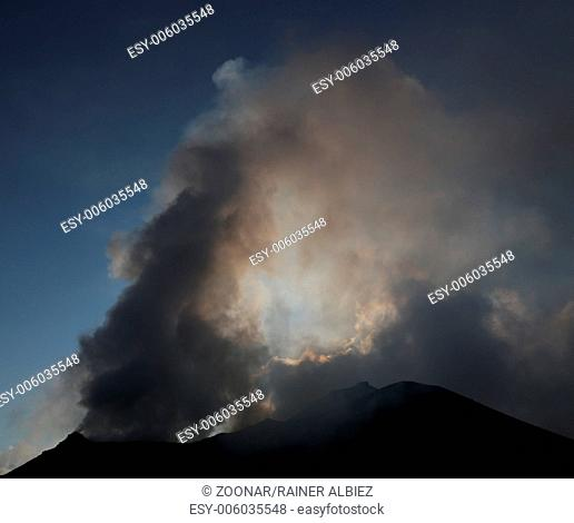 Steaming and smoking volcano Stromboli