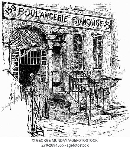 1879: French bakery or Boulangerie in New York, United States of America