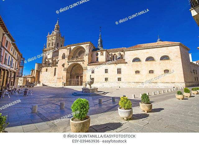 square of cathedral in Burgo de Osma medieval, landmark and monument from thirteenth century, in Soria, Spain, Europe