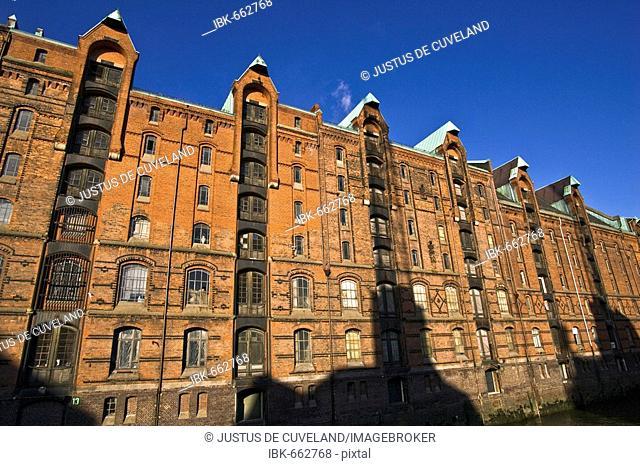 Storehouses in the Speicherstadt - warehouse district of Hamburg - Block E - harbour of Hamburg - Hamburg, Germany, Europe