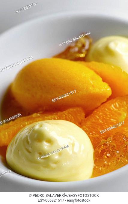 peach ice cream with citrus and shuffle