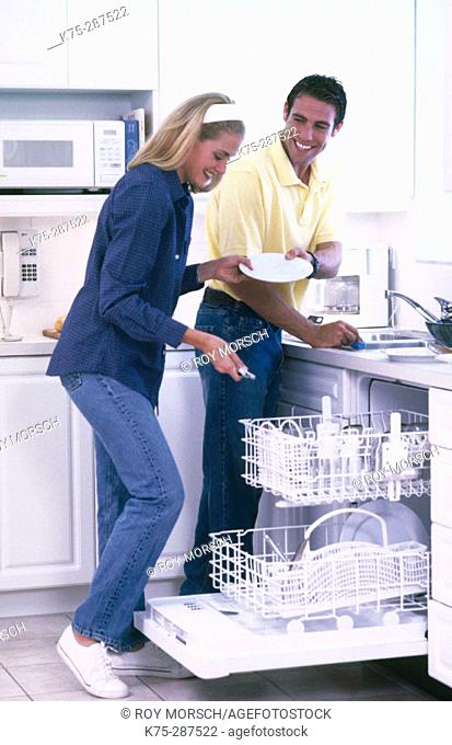 cleaning the dishes together