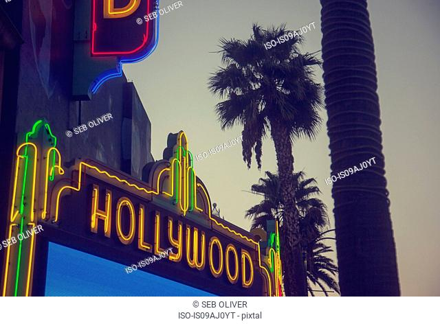 Hollywood neon sign, Los Angeles, California, USA