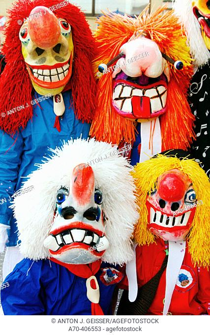 Waggis (typical mischievous characters) at the Basel carnival. Switzerland