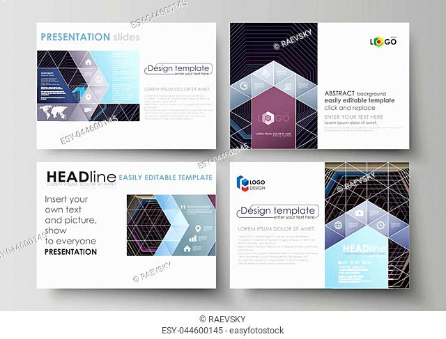 Set of business templates for presentation slides. Easy editable abstract vector layouts in flat design. Abstract polygonal background with hexagons