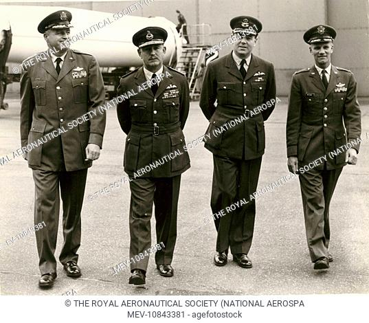 The first Thor missile for the RAF at Feltwell, Norfolk, on 19 September 1958. From left: General W.H. Blanchard, USAF; AVM K.B.B