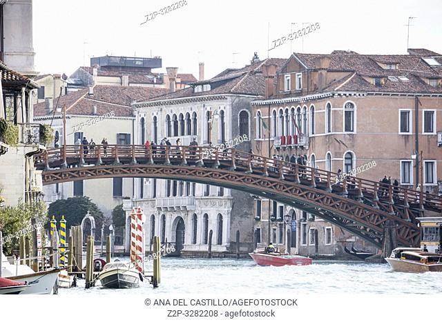 Venice Veneto Italy on January 21, 2019: Accademia bridge at Grand Canal