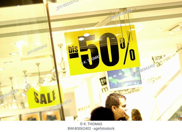 shop window, sale, procent, Austria, Vienna, 1. district, Kaertnerstrasse