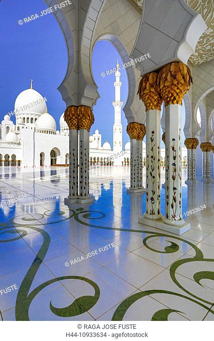 United Arab Emirates, UAE, Middle East, Abu Dhabi, City, Sheikh Zayed, Mosque, Mosque, Zayed, architecture, black, columns, dome, golden, Islam, marble, minaret