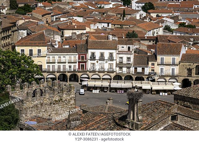 View of Plaza Mayor of Trujillo, Extremadura, Spain from a side srteet