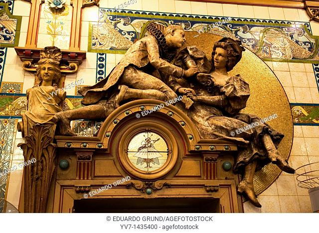 Detail of the 'La Cigale' restaurant, which visited by Jules Verne  Nantes, Loire, France, Europe