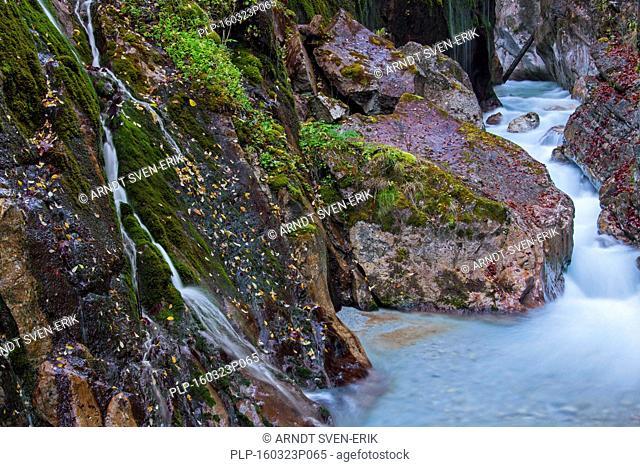 Stream flowing through in the gorge Wimbachklamm in Ramsau bei Berchtesgaden, National Park Berchtesgaden, Bavaria, Germany