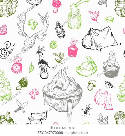 Camping and traveling seamless pattern. Vector elements. Backpack, campfire, tent, cauldron, compass, axe, map, berries, leaves, mushrooms