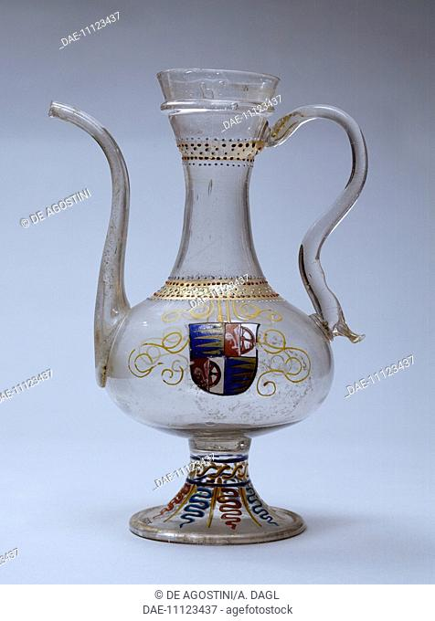 Venetian glass jug decorated with polychrome enamel, Venice. Italy, 16th century.  Prague, Umeleckoprumyslové Muzeum V Praze (Arts And Crafts Museum)