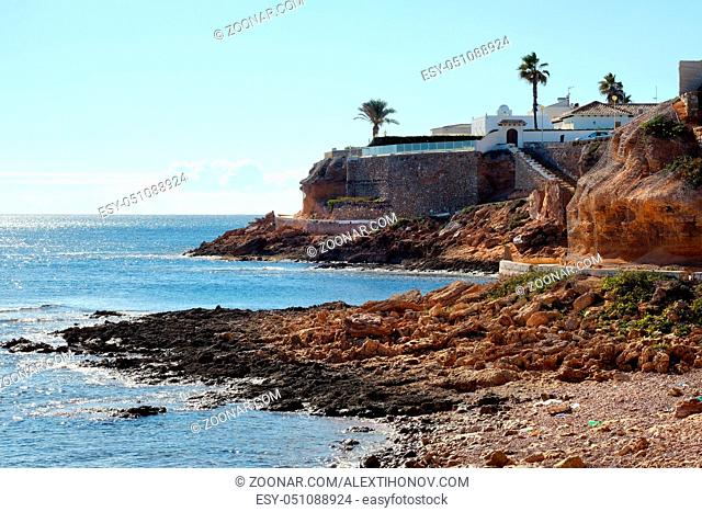 Rocky coastline of Cabo Roig. Province of Alicante. Costa Blanca. Spain