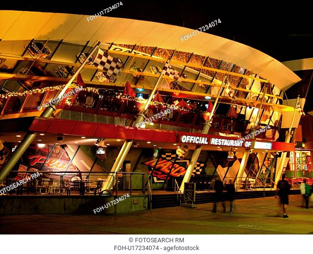 Orlando, FL, Florida, Universal Orlando Resort, NASCAR CafT, evening