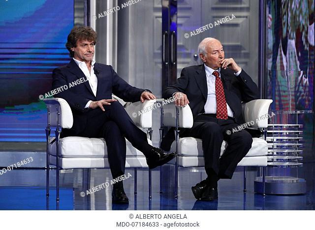 Italian scientific advisers, writers and journalists Piero and Alberto Angela during the TV show Porta a Porta. Rome, June 26th, 2019