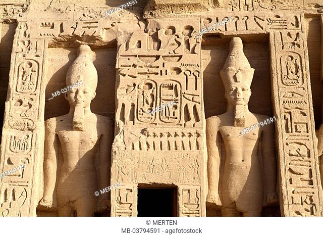 Egypt, Abu Simbel, small temple,  Colossal statues, detail,  Africa, head Egypt, destination, destination, sight, landmarks, culture, rock temples, statues