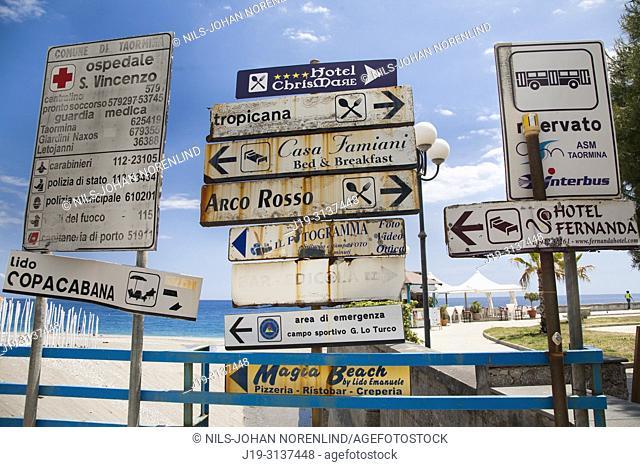 Information signs Naxos, Sicily