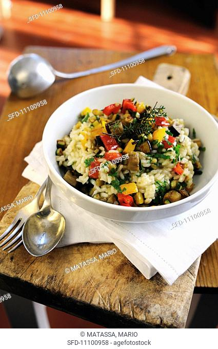 Mixed vegetable risotto with sweet bell peppers, aubergines, courgettes and flavoured with parsley and thyme