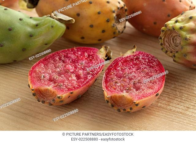Fresh ripe whole and half Prickly Pears