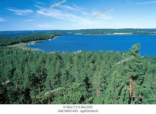 Aerial view of Lake Vesijarvi near Lahti in Finland
