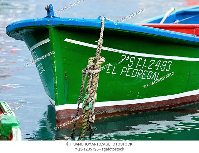 Moored boat, Castro Urdiales, Cantabria, Spain