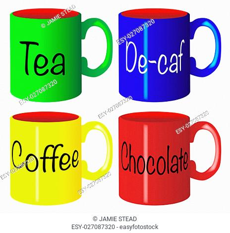 A collection of 4 coloured mugs over a white background with common drinks names
