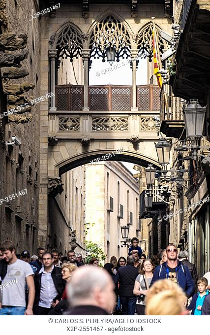 neogothic bridge at Carrer del Bisbe (Bishop Street). Spain. Barcelona