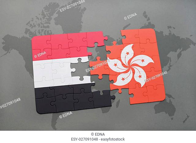 puzzle with the national flag of yemen and hong kong on a world map background. 3D illustration