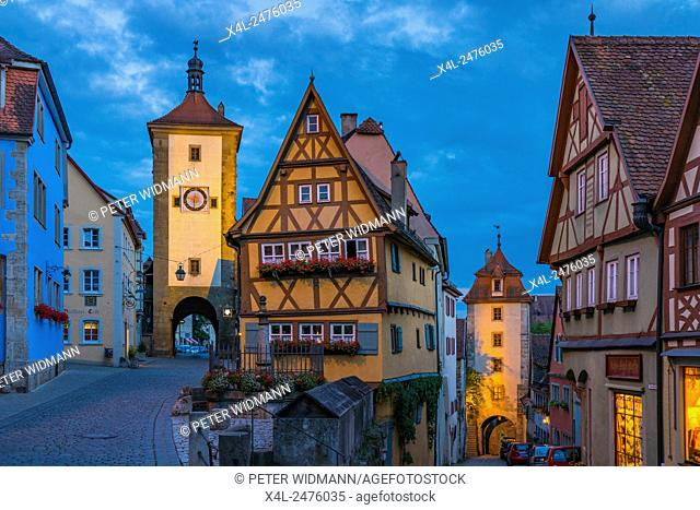 Siebers Tower, Plönlein and Kobolzell Gate, Rothenburg ob der Tauber, Romantic Road, Franconia, Bavaria, Germany, Europe
