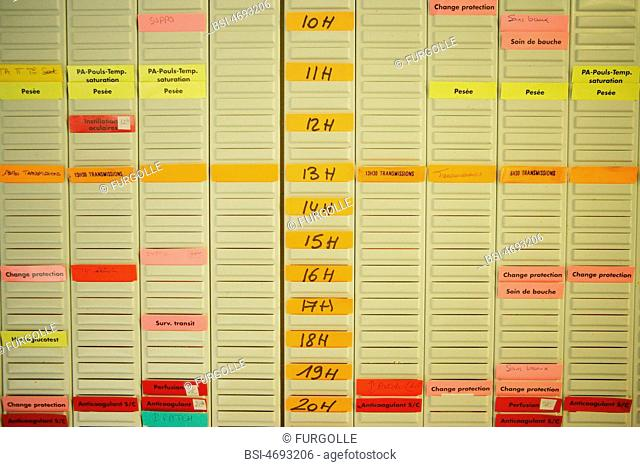 Photo essay at the hospital of Meaux 77, France. Site of Orgemont. Schedule of the care and treatment given to the patients