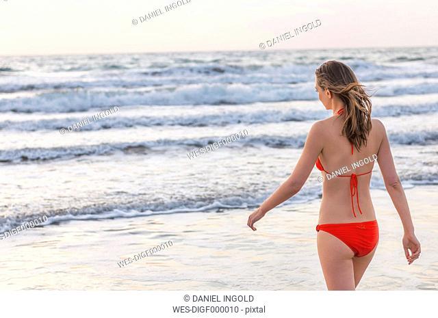 Woman wearing bikini at the sea
