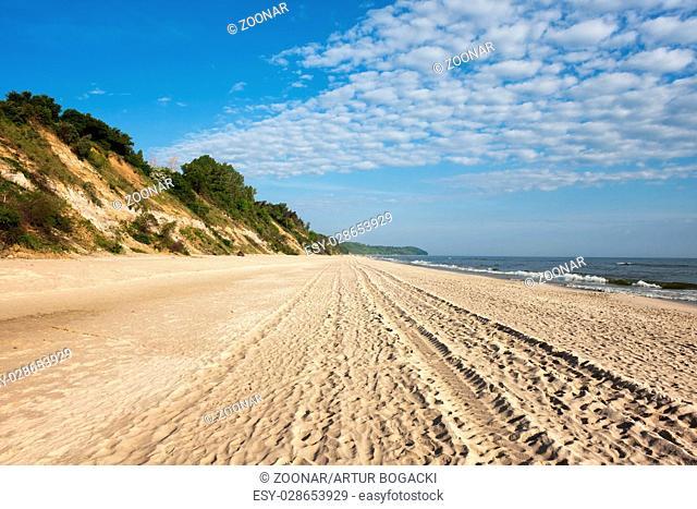 Baltic Sea Wide Sandy Beach in Chlapowo