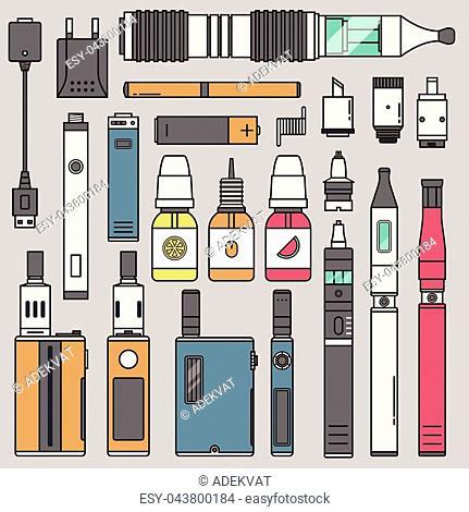 Vape device vector set cigarette vaporizer. Vapor juice vape bottle flavor illustration battery coil. vapor trend new culture electronic nicotine liquid