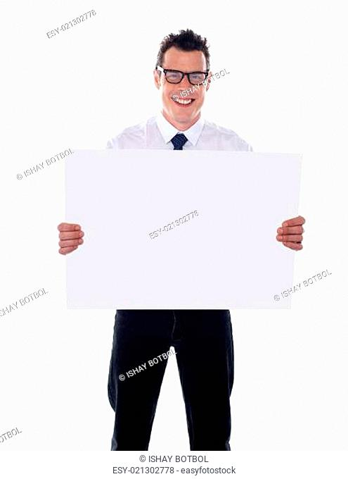 Representative holding blank signboard