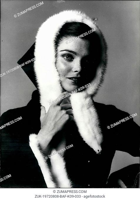 Aug. 08, 1972 - Paris Fashions: White Mink for Winter ?¢'Ǩ'Äú OPS: Black woolen winter coat with sleeves and hood trimmed with white mink