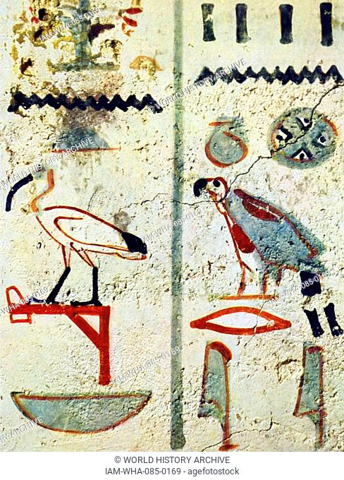 Egyptian hieroglyphs from a tomb wall painting from Thebes, Luxor. Dated 11th Century BC