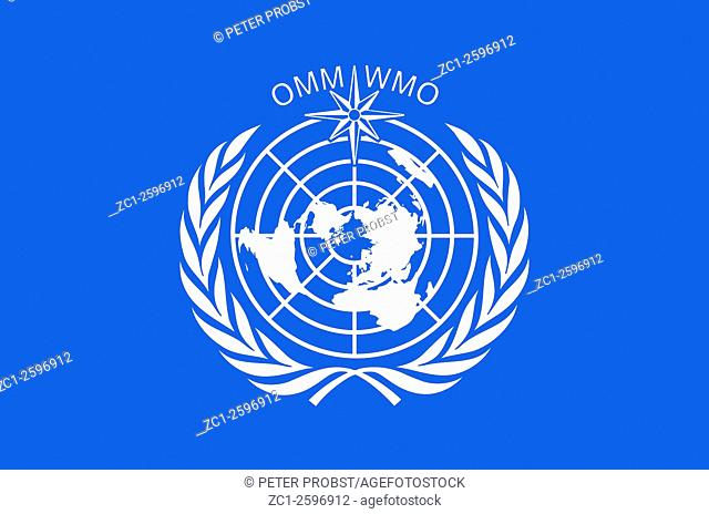Flag with the logo of the World Meteorological Organization WMO with seat in Geneva - Caution: For the editorial use only