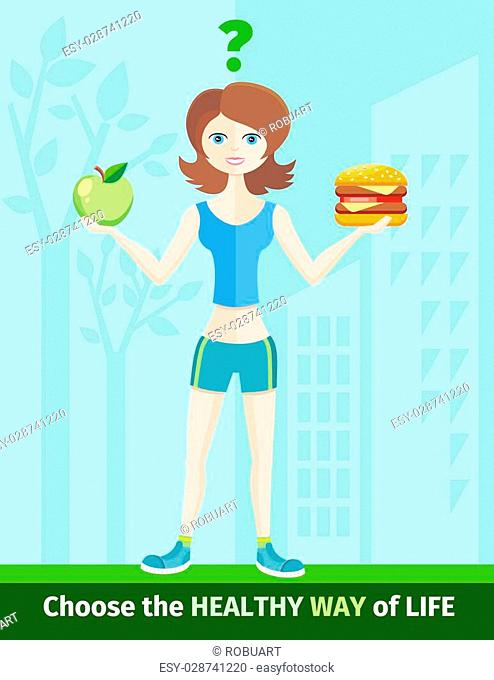 Healthy lifestyle and dieting concept with woman in sportswear choosing between eat green apple or hamburger